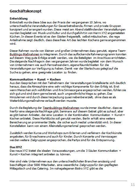Businessplan-Praxis-Beispiel: Vom Kochevent zum Veranstaltungs-Unternehmen Busine67