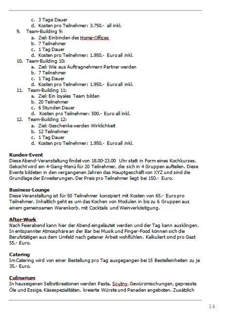 Businessplan-Praxis-Beispiel: Vom Kochevent zum Veranstaltungs-Unternehmen Busine70