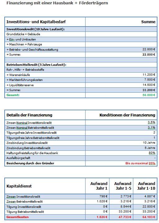Finanzierungs-Beispiel Gründer mit einer Hausbank und Hausbank plus Fördermittel Finanz11