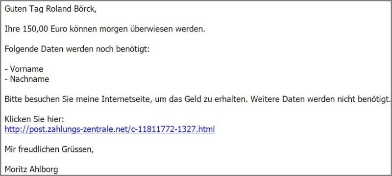 Vorsicht Trickbetrug: 150.- Euro zu verschenken Trickb11