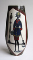 Fantoni-style vase, lady with dog. Galvano (Italy) Italy_10
