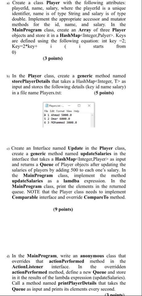 تمارين بلغة الجافا ... create a class player with the following attributes 410
