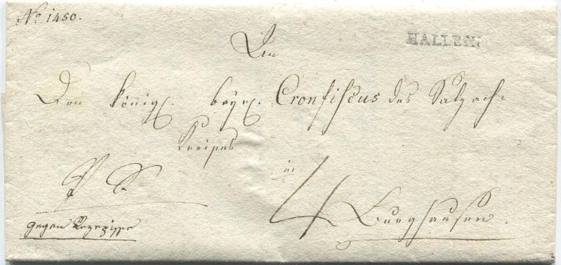 Briefe von - und nach Salzburg mit Berchtesgaden aus der bayrischen Zeit (12.9.1810 bis 30.4.1816) zu Bayern; Berchtesgaden blieb bei Bayern Hallei10