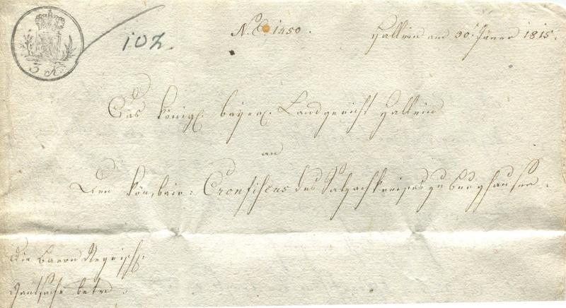 Briefe von - und nach Salzburg mit Berchtesgaden aus der bayrischen Zeit (12.9.1810 bis 30.4.1816) zu Bayern; Berchtesgaden blieb bei Bayern Hallei12