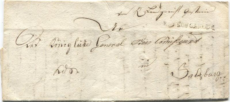 Briefe von - und nach Salzburg mit Berchtesgaden aus der bayrischen Zeit (12.9.1810 bis 30.4.1816) zu Bayern; Berchtesgaden blieb bei Bayern Hofgas10