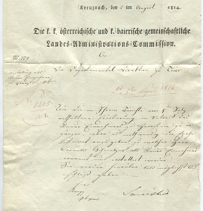 Die Thurn und Taxis Überrheinische Post / provisorische Verwaltung der besetzten Gebiete 1814 bis 1816 Kreuzn12