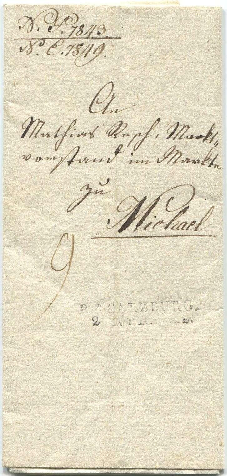 Briefe von - und nach Salzburg mit Berchtesgaden aus der bayrischen Zeit (12.9.1810 bis 30.4.1816) zu Bayern; Berchtesgaden blieb bei Bayern Salzbu11