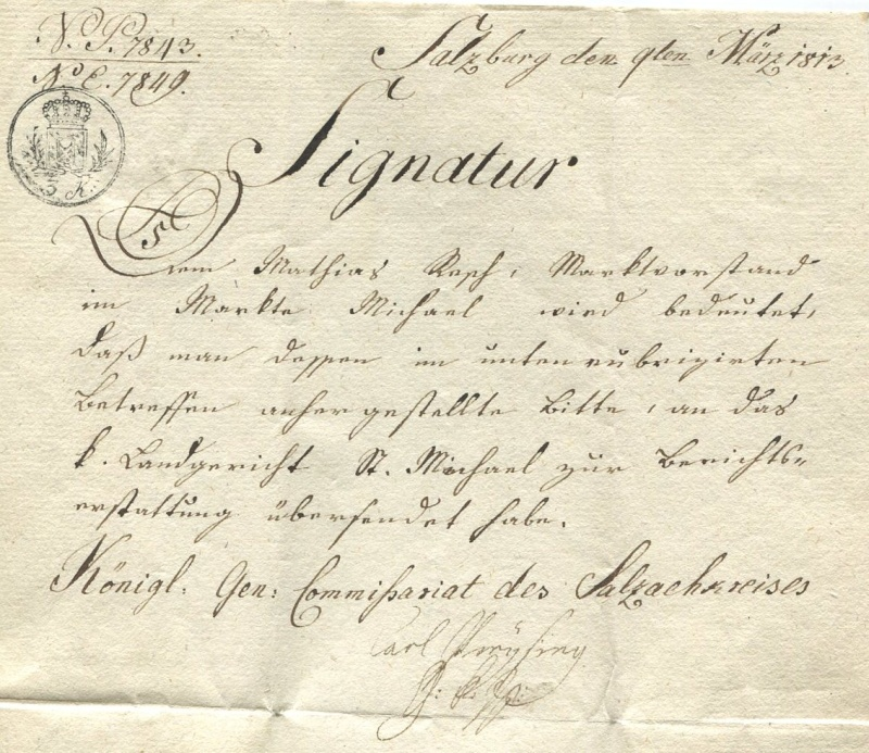 Briefe von - und nach Salzburg mit Berchtesgaden aus der bayrischen Zeit (12.9.1810 bis 30.4.1816) zu Bayern; Berchtesgaden blieb bei Bayern Salzbu12