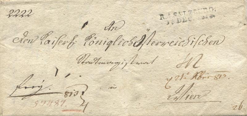 Briefe von - und nach Salzburg mit Berchtesgaden aus der bayrischen Zeit (12.9.1810 bis 30.4.1816) zu Bayern; Berchtesgaden blieb bei Bayern Salzbu13
