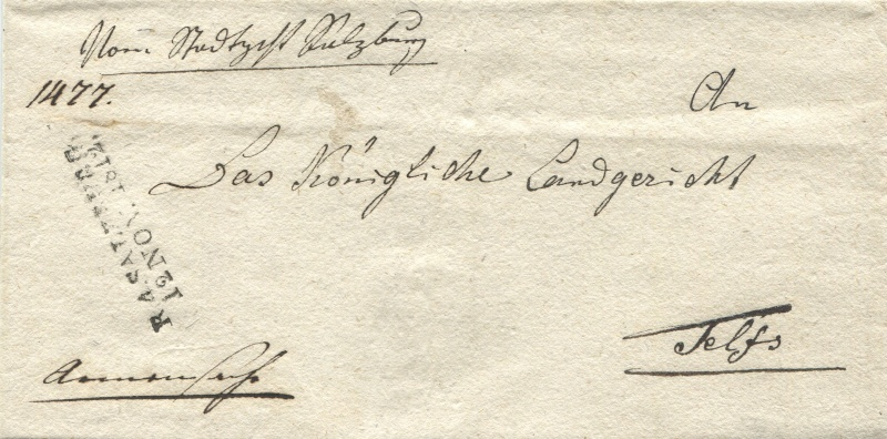 Briefe von - und nach Salzburg mit Berchtesgaden aus der bayrischen Zeit (12.9.1810 bis 30.4.1816) zu Bayern; Berchtesgaden blieb bei Bayern Salzbu15
