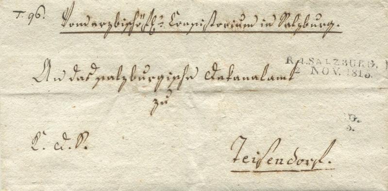 Briefe von - und nach Salzburg mit Berchtesgaden aus der bayrischen Zeit (12.9.1810 bis 30.4.1816) zu Bayern; Berchtesgaden blieb bei Bayern Salzbu16