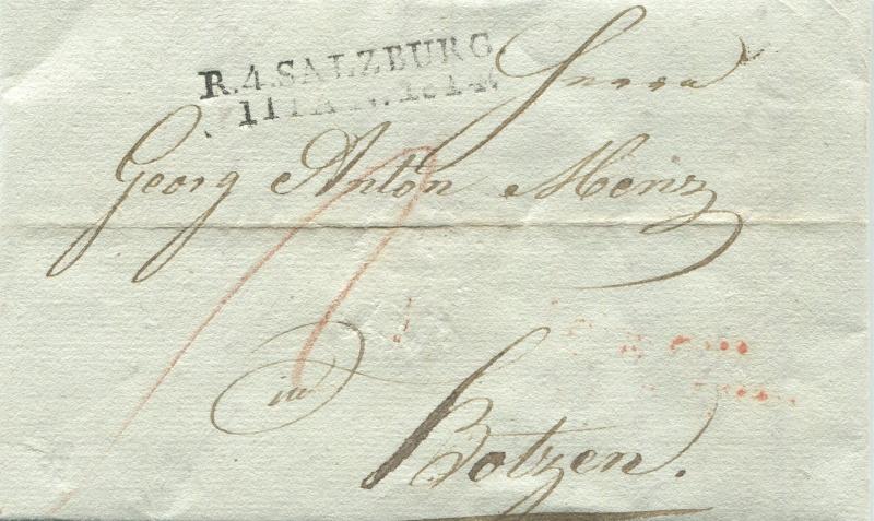Briefe von - und nach Salzburg mit Berchtesgaden aus der bayrischen Zeit (12.9.1810 bis 30.4.1816) zu Bayern; Berchtesgaden blieb bei Bayern Salzbu17