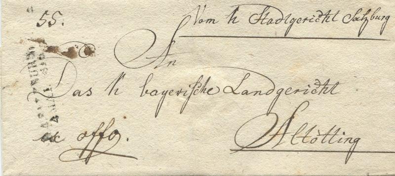 Briefe von - und nach Salzburg mit Berchtesgaden aus der bayrischen Zeit (12.9.1810 bis 30.4.1816) zu Bayern; Berchtesgaden blieb bei Bayern Salzbu19