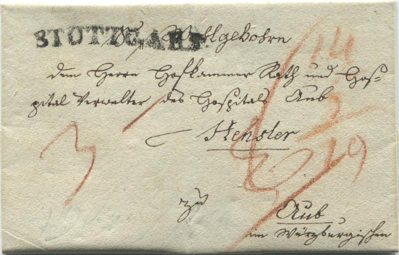 Großherzogtum Würzburg (bis 31.1.1806 zu Bayern / 1.2.1806 bis 25.5.1814 zu Österreich /  ab 26.6.1814 zu Bayern) Stuttg10