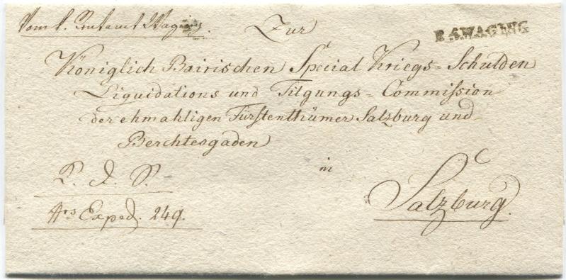 Briefe von - und nach Salzburg mit Berchtesgaden aus der bayrischen Zeit (12.9.1810 bis 30.4.1816) zu Bayern; Berchtesgaden blieb bei Bayern Waging10