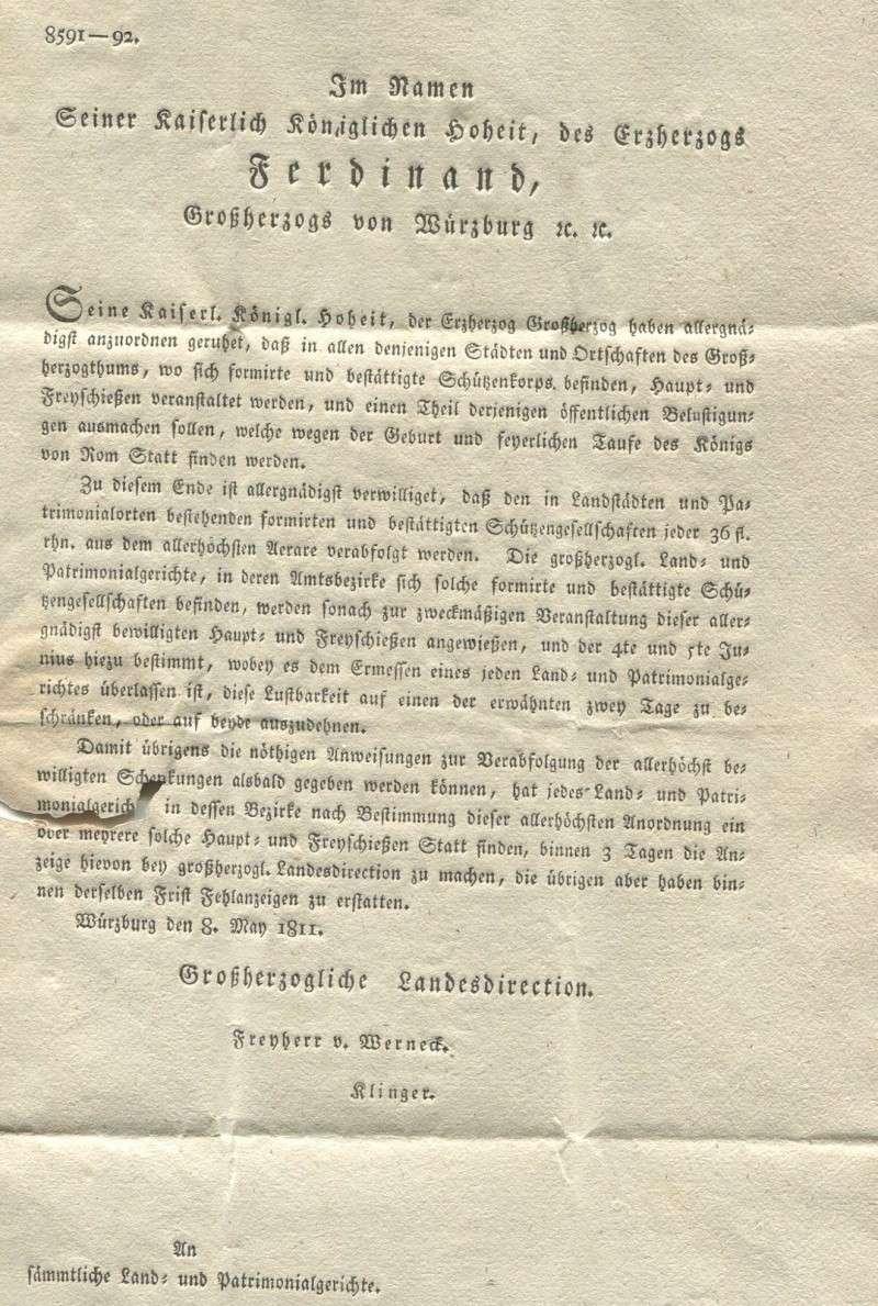 Großherzogtum Würzburg (bis 31.1.1806 zu Bayern / 1.2.1806 bis 25.5.1814 zu Österreich /  ab 26.6.1814 zu Bayern) Warzbu11