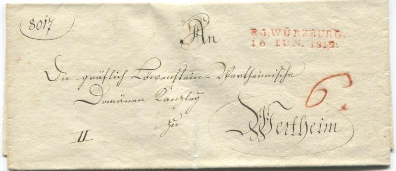 Großherzogtum Würzburg (bis 31.1.1806 zu Bayern / 1.2.1806 bis 25.5.1814 zu Österreich /  ab 26.6.1814 zu Bayern) Warzbu12