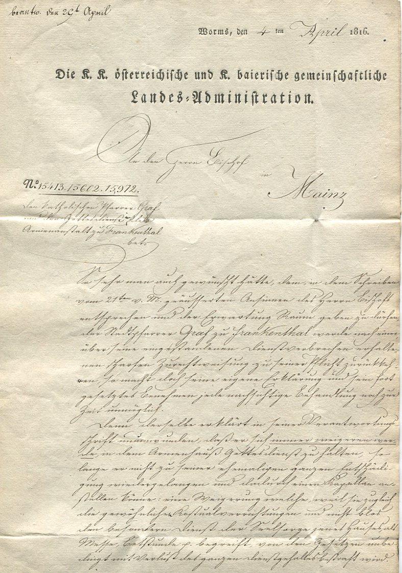 Die Thurn und Taxis Überrheinische Post / provisorische Verwaltung der besetzten Gebiete 1814 bis 1816 Worms-12