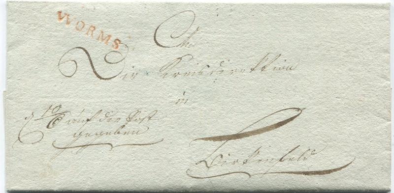 Die Thurn und Taxis Überrheinische Post / provisorische Verwaltung der besetzten Gebiete 1814 bis 1816 Worms-13