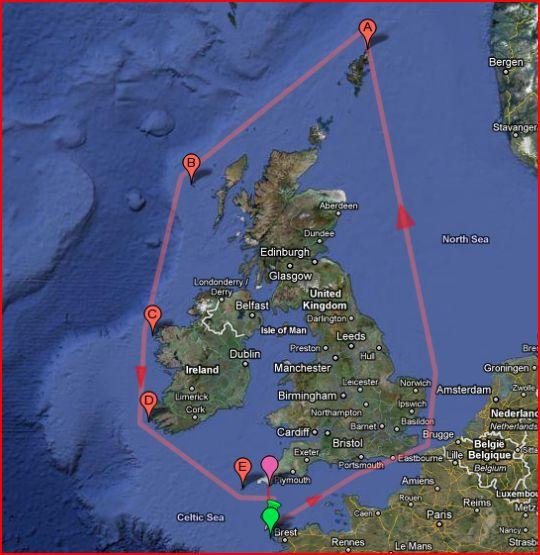 Record du Tour des îles Britanniques - Challenge officieux Carte12