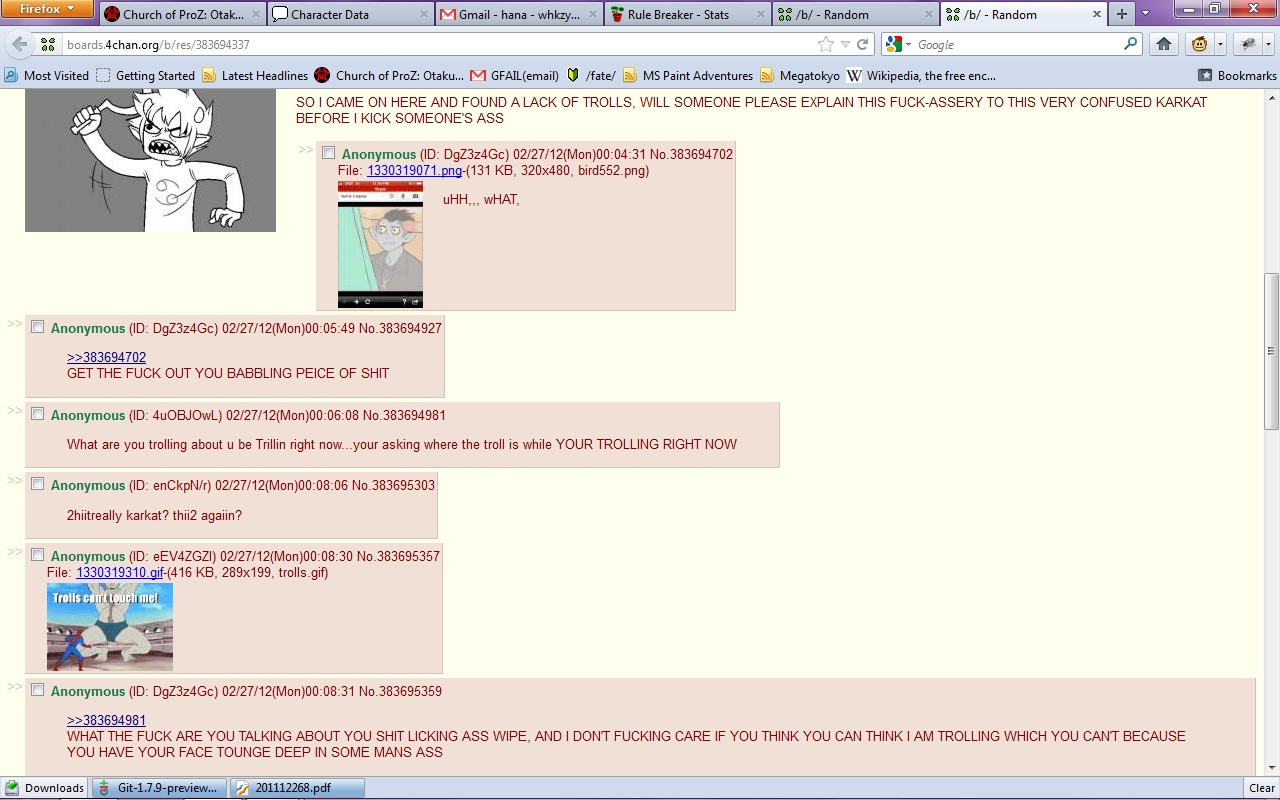 Karkat on /b/ 4chs110