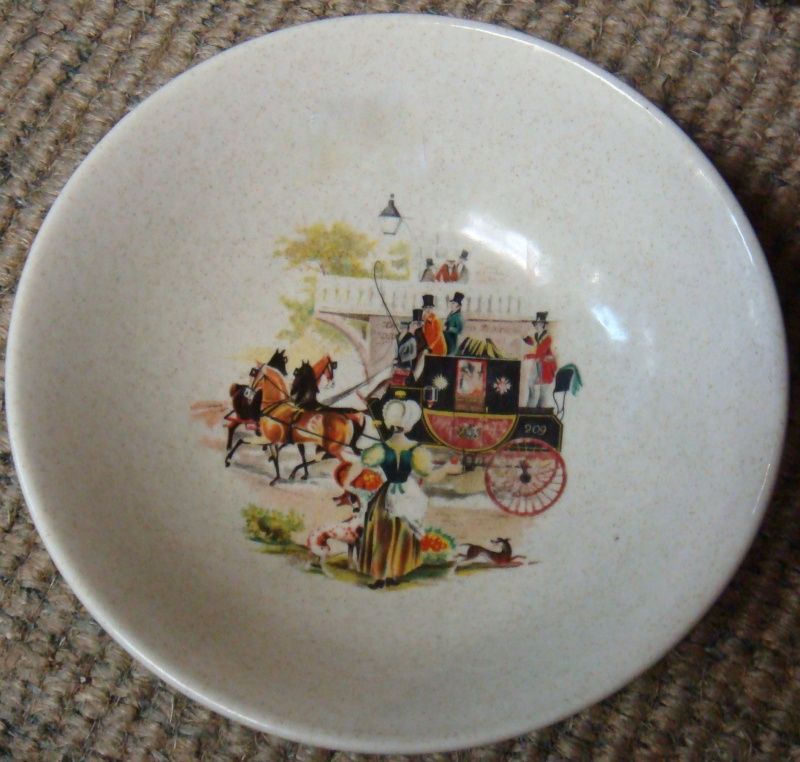 No Name Kelston Ceramics Bowl Horse drawn coach ~ Dsc06214