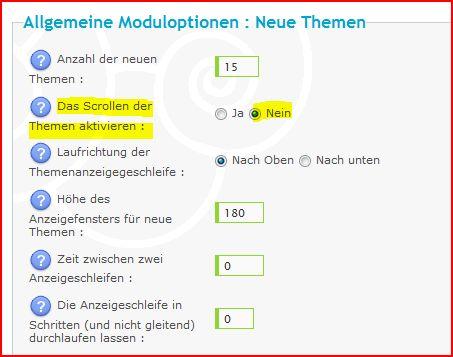 """[Tutorial - bb2] das Modul """"neue Themen"""" oben auf der Startseite  Aufzei10"""