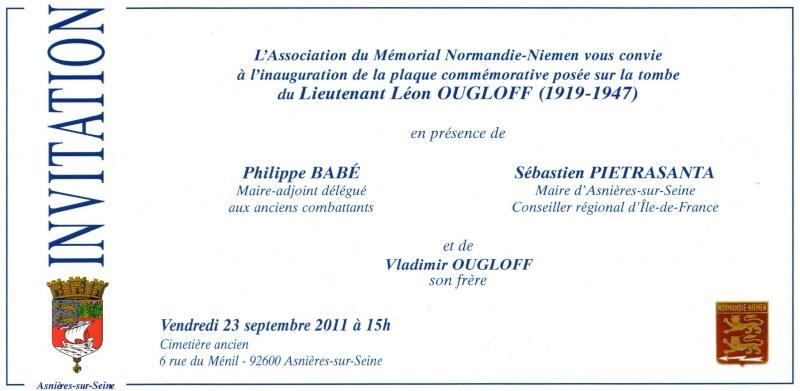 Nouvelle plaque sur la sépulture de Léon Ougloff Invita10