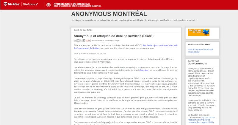McAfee juge anonymous montreal blogspot dangereux depuis aujourd'hui! Anonym10