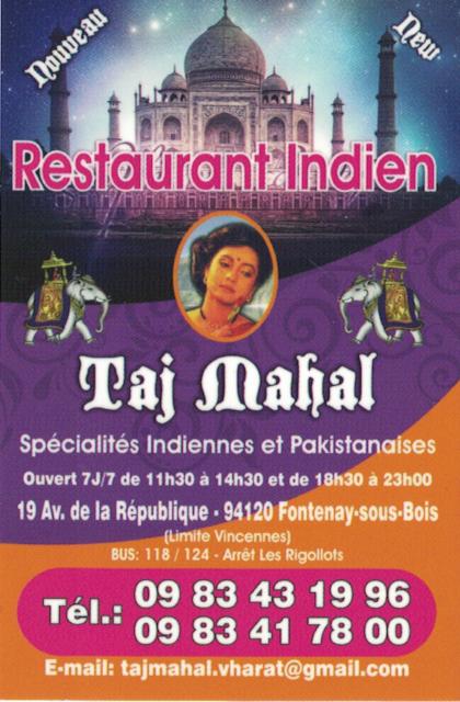 Restaurant indien Taj Mahal avenue de la République Indien10