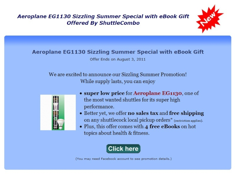 ShuttleCombo Aeroplane EG1130 Sizzling Summer Special with eBook Gift Fbdeal11