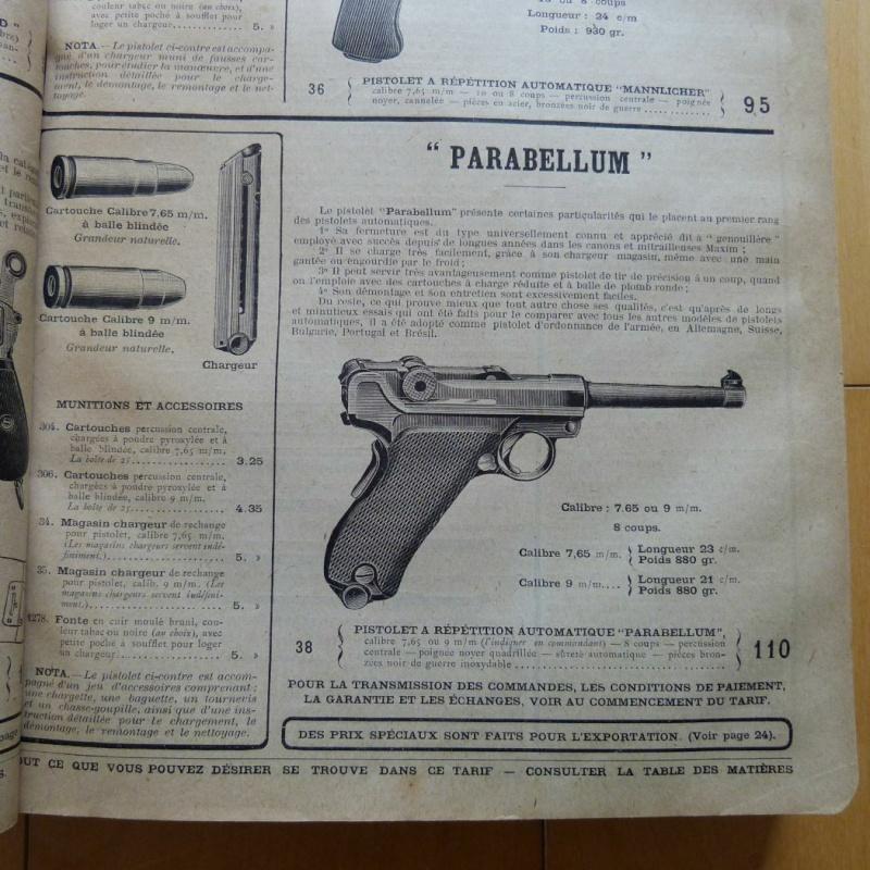 Le Luger Parabellum du tarif album de la Manufacture Française d'Armes et Cycles de St Etienne, année 1911. Tarif_12
