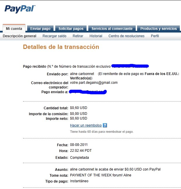 My fourth payment received. Aline_15