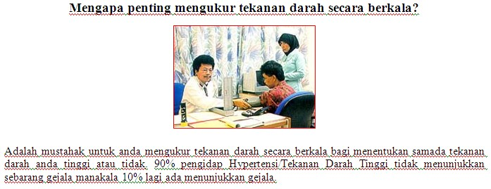 Kaunter Pemeriksaan Tekanan Darah Kakitangan JPS Sabah 1216