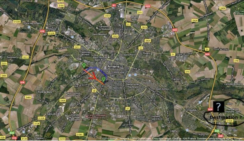"""2011: le 27/07 à ~23h35. """"Boule"""" orange foncée scintillante - à Amiens (80) Trajec12"""