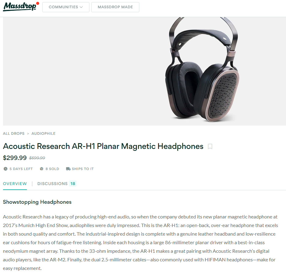 Acoustic Research AR-H1 Ar10
