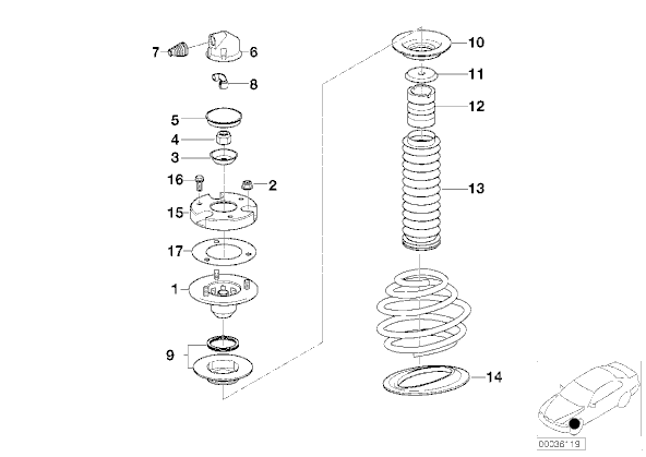 Changement des amortisseurs Avant [ 740i E38 ] 5011