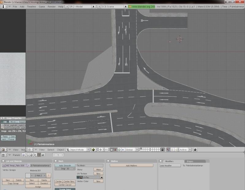 Kreuzungsbau: Straßenmarkierungen (Pfeile) werden nach Blender-Export im Editor nur als weiße Quadrate angezeigt Blende13