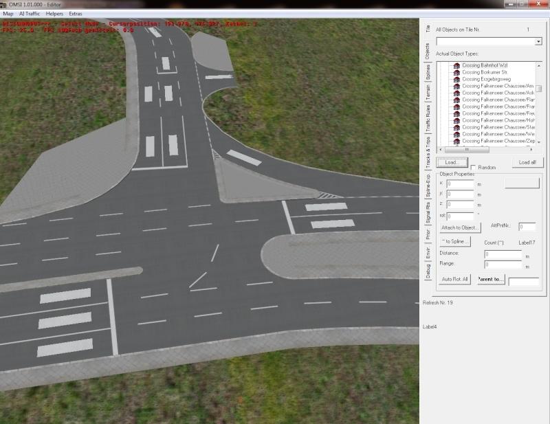 Kreuzungsbau: Straßenmarkierungen (Pfeile) werden nach Blender-Export im Editor nur als weiße Quadrate angezeigt Editor13