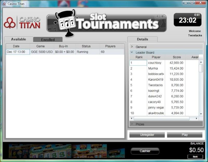 OFC $1,000 Slot Tournament Freeroll Dec 10th 1:00 Titan_11