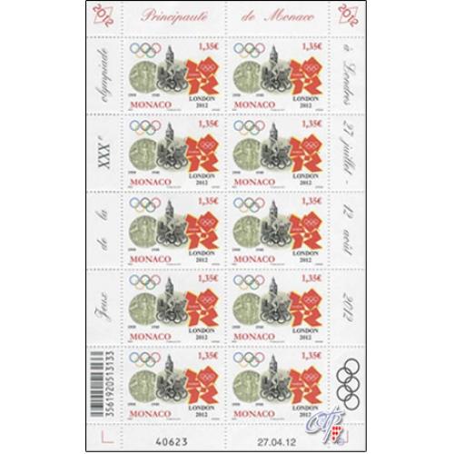 Timbre Monaco - Jeux Olympiques Londres 2012 12feui10