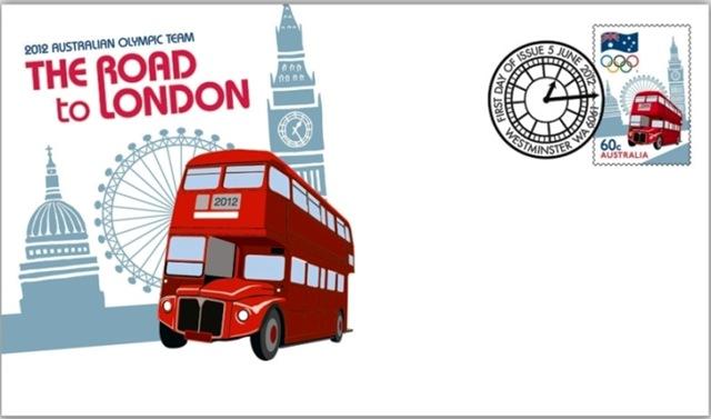 Timbre Australie - Londres, Equipe Olympique 2012 Austra12