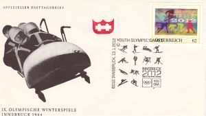 A second stamp in Austria to celebrate the 1st Winter Youth Olympic Games, Innsbruck 2012 Envelo10