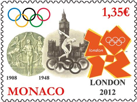 Timbre Monaco - Jeux Olympiques Londres 2012 Londre10