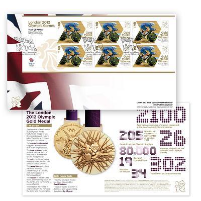 Timbre Officiel (Royaume-Uni) Jeux Olympiques de Londres 2012 - Timbres qui fêteront les médailles d'or britanniques Mx003l10