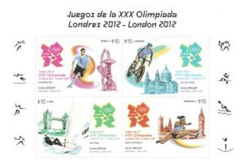 Timbres Uruguay - Jeux Olympiques de Londres 2012 (Football, Cyclisme, Voile & Athlétisme) Olympi16