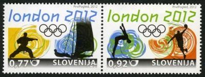 Timbre Slovénie - Jeux Olympiques de Londres 2012 (Judo, voile, natation et basketball) Olympi17