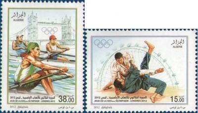 Timbres Algérie - Jeux Olympiques de Londres 2012 (Judo et Aviron) Olympi20