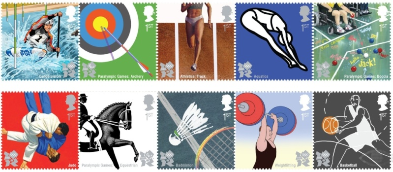 Timbres officiels (Royaume Uni) des Jeux Olympiques de Londres 2012 Philat13