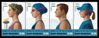 Timbres San Marin - Jeux Olympiques de Londres 2012 (Tir, Athlétisme, Natation) Sanmar10